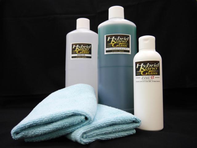 2014メモリアルセットはガラスコーティングゼウスα・洗車シャンプーパーフェクトシャンプー1L・鉄粉落としクリーナー鉄粉除去剤1L