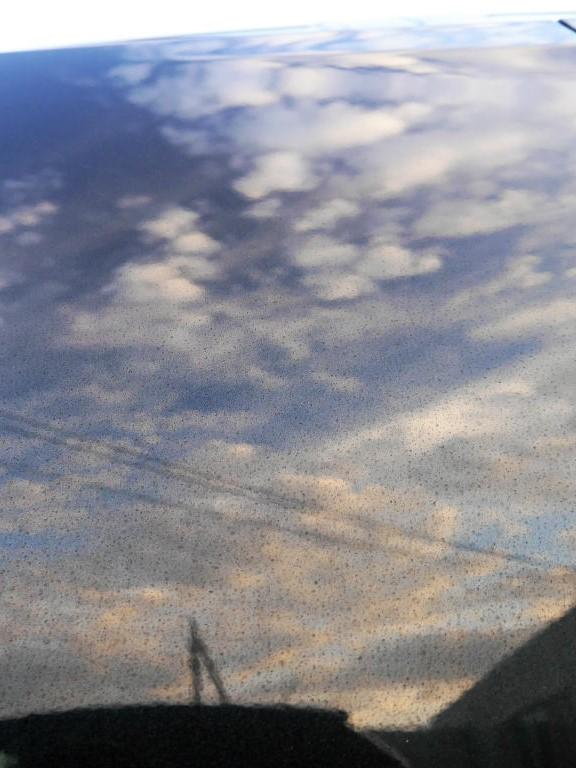 雨ジミ・イオンデポジット・ウォータースポット・水垢・シリカスケールなどシミ汚れを雨ジミ・スケール除去剤で落とした場合のボディ