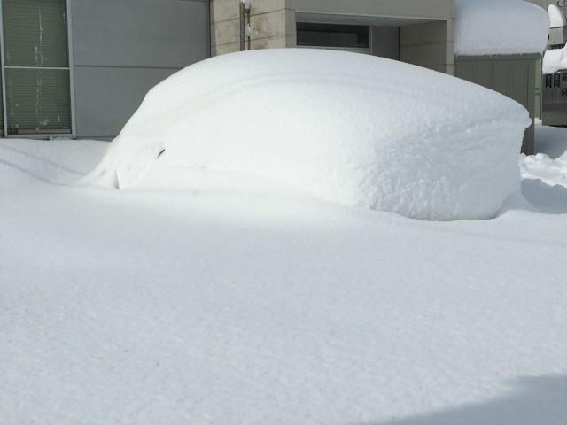 入り口近くにこんもりしたかまくらのような雪の大きなかたまりが