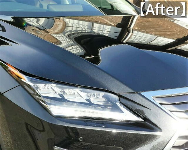 レクサス RX 450H version L をシャンプー洗車し、濡れたままのボディにグロスフォームコートのコーティング施工後