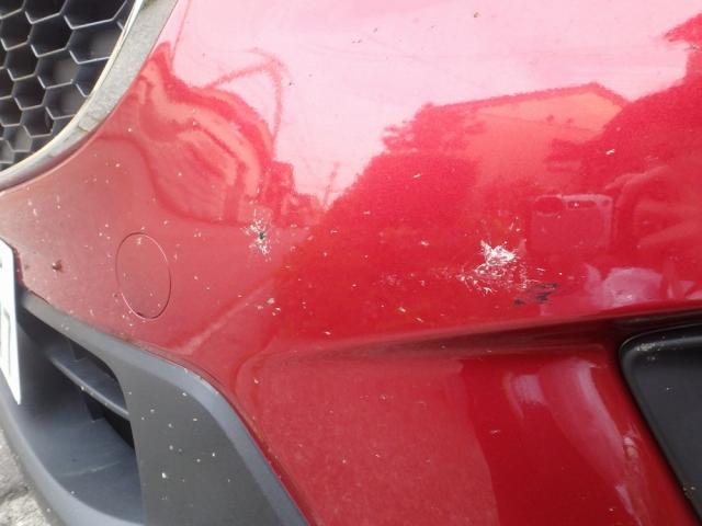 車にぶつかってきた昆虫の死骸や体液・羽などが付着して汚れた、マツダcx-5のバンパーを虫汚れ鳥ふんクリーナーで洗車します
